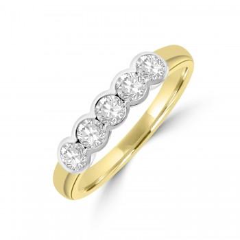 18ct Gold 5-stone .48ct Diamond Rubover Eternity Ring