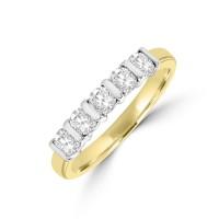 18ct Gold 5-stone .61ct Diamond Bar set Eternity Ring
