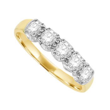 18ct Gold 5-stone .59ct Diamond Loopy Claw Eternity Ring