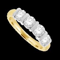 18ct Gold 4-stone 1.03ct Diamond Bar Set Eternity Ring