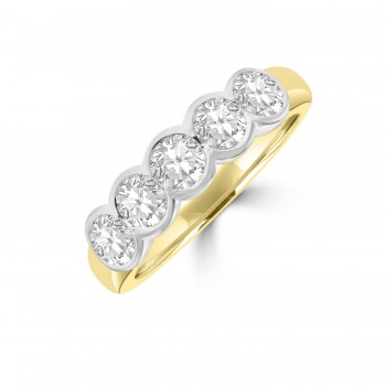 18ct Gold 5-stone 1.05ct Diamond Rubover Eternity Ring