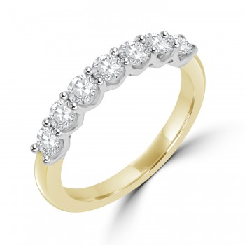 18ct Gold & Platinum 7-stone .70ct Diamond V-Claw Eternity Ring