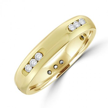 18ct Gold Diamond Channel Section Wedding ring