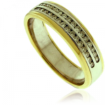 18ct Gold Two-Tone Double Row Diamond Eternity Ring