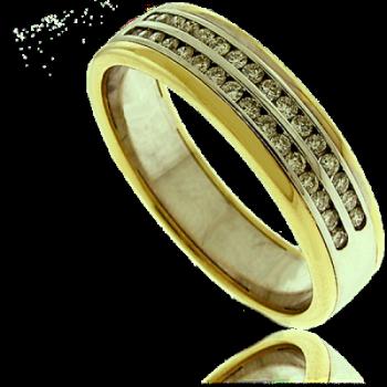 18ct Gold Two-Tone Double Row Diamond Eternity Ring