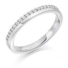 18ct White Gold Diamond Offset Diamond Wedding Ring