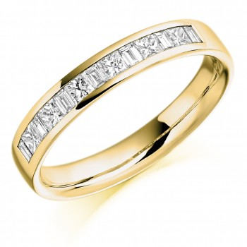 18ct Gold Princess & Baguette Diamond Eternity Ring