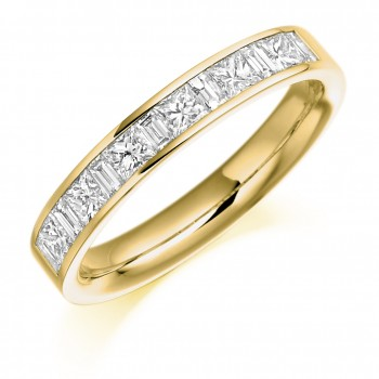 18ct Gold Princess cut & Baguette Diamond Eternity Ring