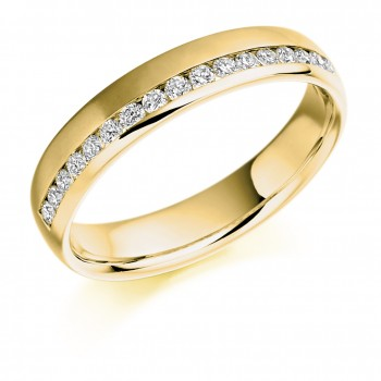 18ct Gold Diamond Offset Channel Wedding Ring