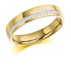 18ct Gold Princess cut Diamond Offset Wedding ring