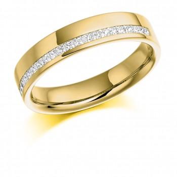 18ct Gold Princess cut Diamond Offset Wedding ring