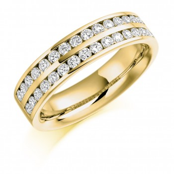 18ct Gold Double Row Diamond Channel Set Eternity Ring