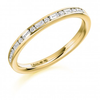 18ct Gold Baguette & Brilliant cut Diamond Wedding Ring