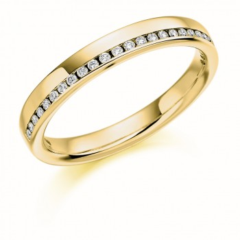 18ct Gold Offset Diamond Channel Wedding Ring