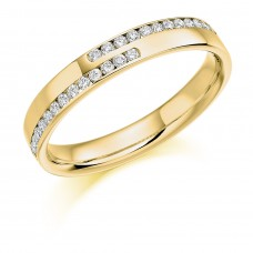 18ct Gold Double Row Diamond Overlap Wedding Ring