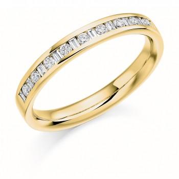 18ct Gold Baguette & Brillant cut Diamond Wedding Ring