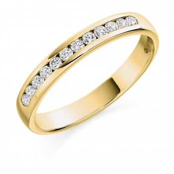 18ct Gold 12-stone Diamond Channel Wedding Ring