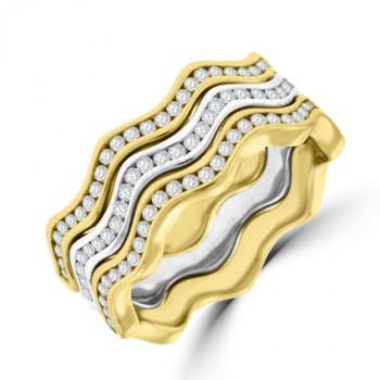 18ct Yellow, White & Rose Gold Diamond Wave Rings