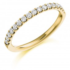 18ct Gold 17-Stone Castle set Diamond Wedding Ring