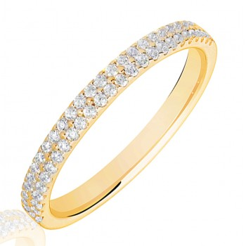 18ct Gold Double Row Diamond Wedding Ring