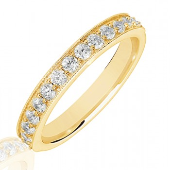 18ct Gold .50ct Diamond Micro Claw Set Wedding Ring