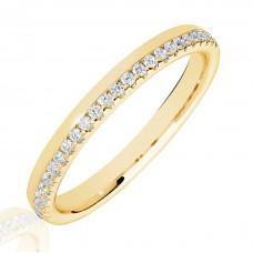 18ct Gold .15ct Diamond Offset Wedding Ring