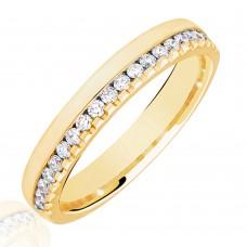 18ct Gold .33ct Diamond Offset Wedding Ring