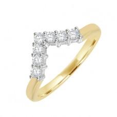 18ct Gold 7-Stone Diamond Wishbone Eternity Ring