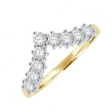 18ct Gold 9-stone Diamond Wishbone Eternity Ring