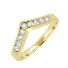 18ct Gold 9-stone Diamond Wishbone Eternity Ring