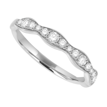 18ct White Gold Diamond Wave Eternity Ring