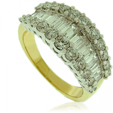 18ct Gold 3-Row Baguette Diamond Cluster Eternity Ring
