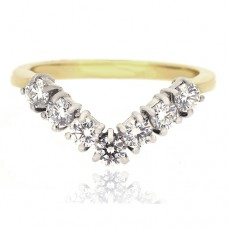 18ct Gold 7-Stone Diamond Wishbone Eternty Ring