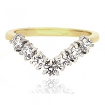 18ct Gold 7-Stone Diamond Wishbone Eternty Ring