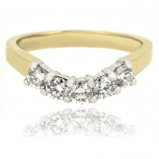 18ct Gold 5-Stone Diamond Bow Shaped Eternity Ring