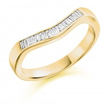 18ct Gold Diamond Baguette Bow shaped Eternity Ring