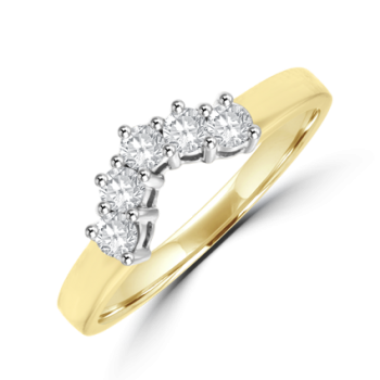 18ct Gold Bow Shaped .23ct Diamond Eternity Ring