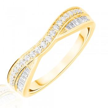 18ct Gold .25ct Brilliant & Baguette Diamond Overlap Ring