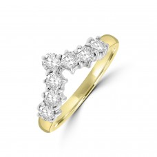 18ct Gold 7-stone .70ct Diamond Wishbone shaped Eternity Ring