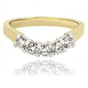 18ct Gold 5-stone .54ct Diamond Bow Shaped Eternity Ring