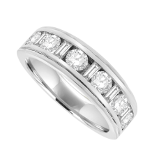18ct White Gold Brilliant & Baguette Diamond Eternity Ring