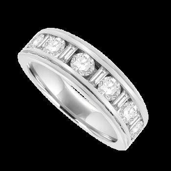 18ct White Gold Brilliant & Baguette Diamond Eternity Ring