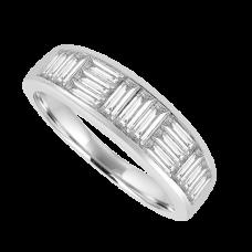 18ct White Gold 15-stone Diamond Baguette Eternity Ring