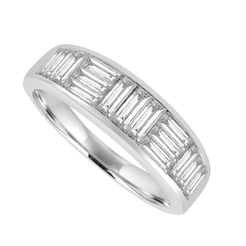 18ct White Gold 15-stone Diamond Baguette Eternity Ring