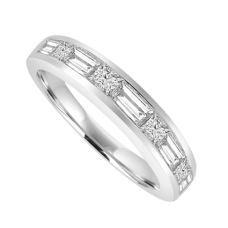 18ct White Gold 9-Stone Baguette & Princess cut Diamond Ring
