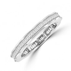 18ct White Gold Baguette Diamond Wavy Full hoop ring