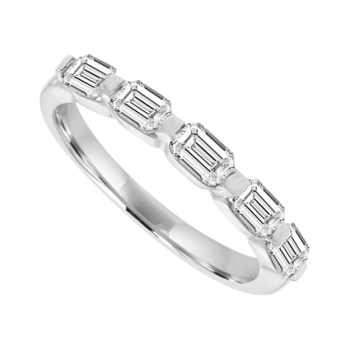 18ct White Gold 5-Stone Emerald cut Diamond Eternity Ring