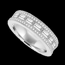 18ct White Gold Diamond Baguette 3-row E/T Ring