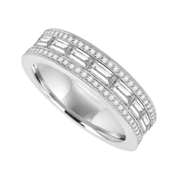 18ct White Gold Diamond Baguette 3-row E/T Ring