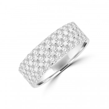 18ct White Gold 3-Row 2.25ct Diamond Eternity Ring